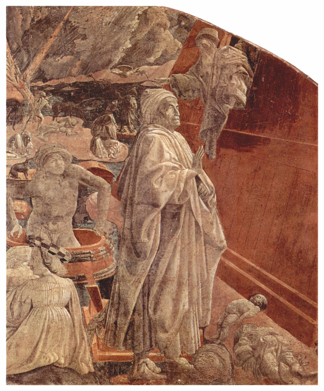 Noé, dans Le Déluge ou le retrait des eaux, de Paolo Uccello (Sainte-Marie Nouvelle, Cloître Vert, Florence)