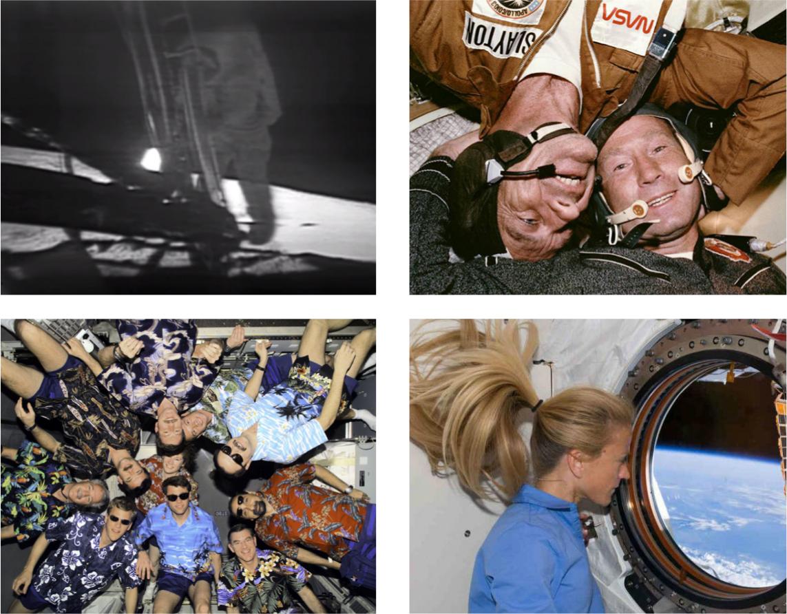 """""""Certaines images resteront à jamais gravées dans l'histoire spatiale. Vues et revues, elles en finissent par devenir de véritables émoticônes chargées d'émotions: Neil Armstrong posant le pied sur la Lune en 1969, cosmonautes russes et américains lors de l'amarrage historique de Soyouz et Apollo en 1975, des spationautes de multiples nationalités à bord de l'ISS ou l'astronaute Karen L. Nyberg contemplant la Terre dans le module Kibo de l'ISS. ©NASA"""" (Fiche ÉMOTICÔNE, figures et légende)"""